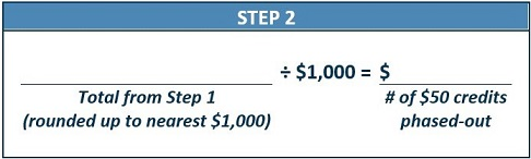 Step 2 for Second Phase-Out Calculation